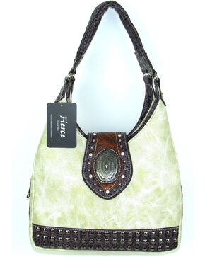 Savana Women's Fierce Concho and Croco Trim Conceal Carry Handbag, Ivory, hi-res