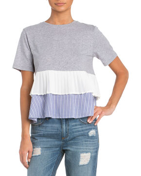 Miss Me Women's Layered Up Ruffle Top , Grey, hi-res