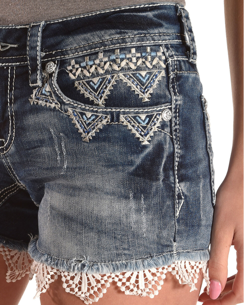 Grace in LA Women's Indigo Embroidered Lace Trim Shorts , Indigo, hi-res