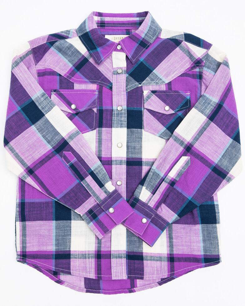 Shyanne Toddler Girls' Purple Plaid Long Sleeve Shirt, , hi-res