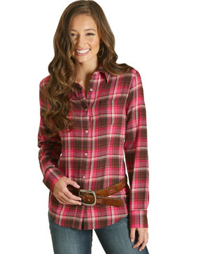 Wrangler Women's Pink Flannel Plaid Long Sleeve Shirt , Pink, hi-res