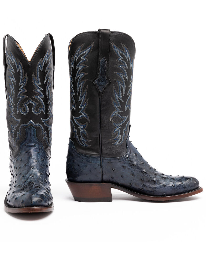 Lucchese Men's Elgin Exotic Western Boots - Round Toe, Navy, hi-res