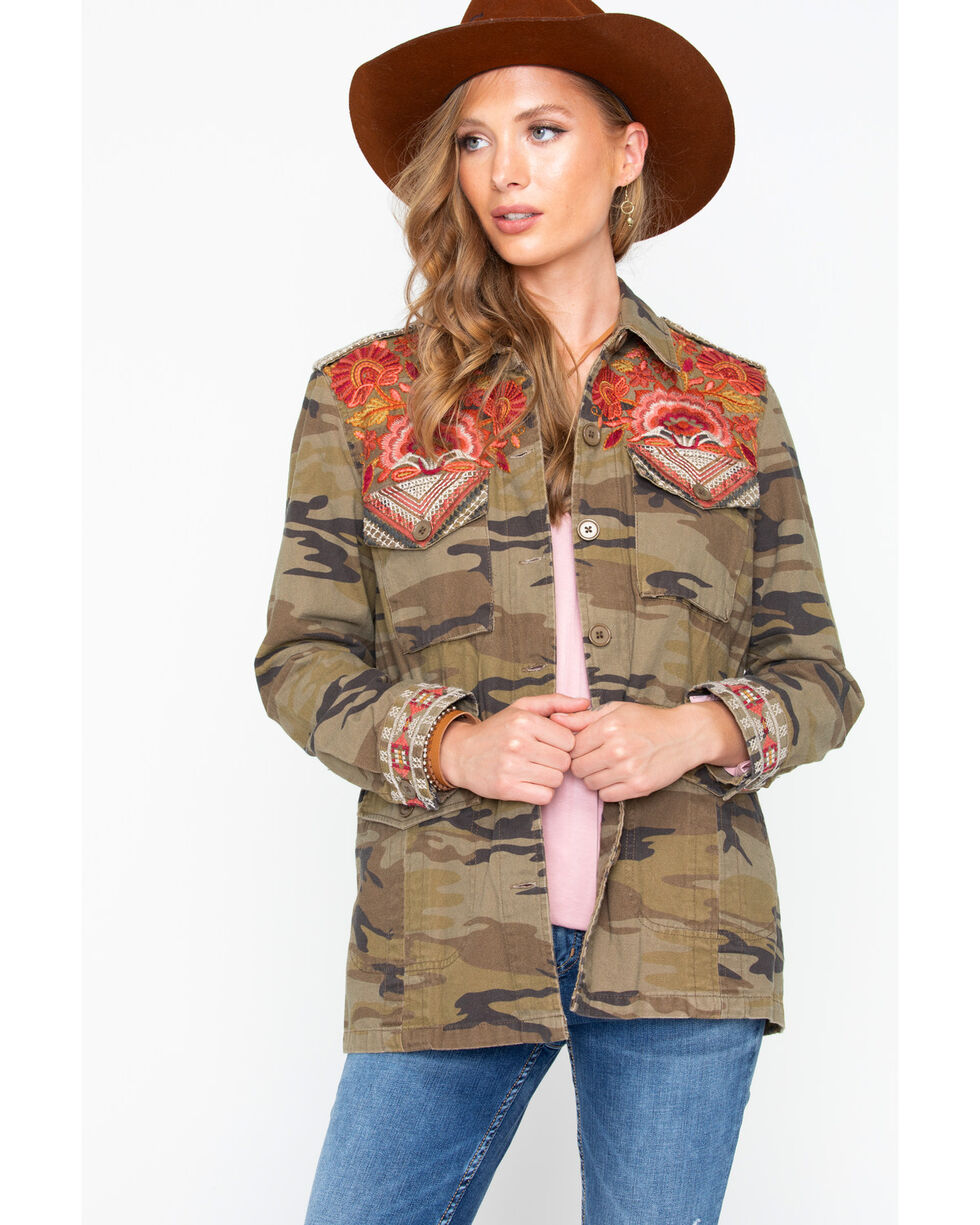 Johnny Was Women's Warner Military Jacket , Camouflage, hi-res