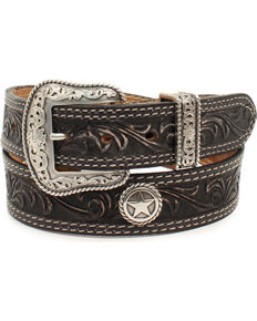 Nocona Men's San Antonio Floral Embossed Star Concho Leather Belt, Black, hi-res