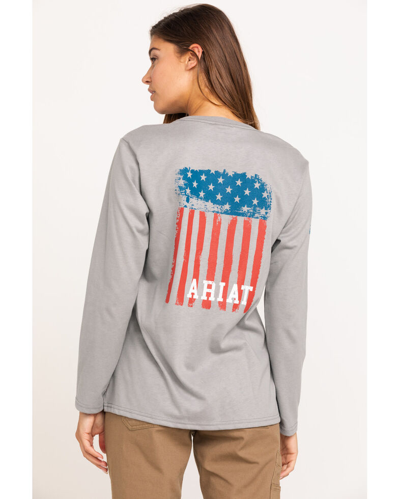 Ariat Women's Silver Fox America Graphic FR T-Shirt , Grey, hi-res