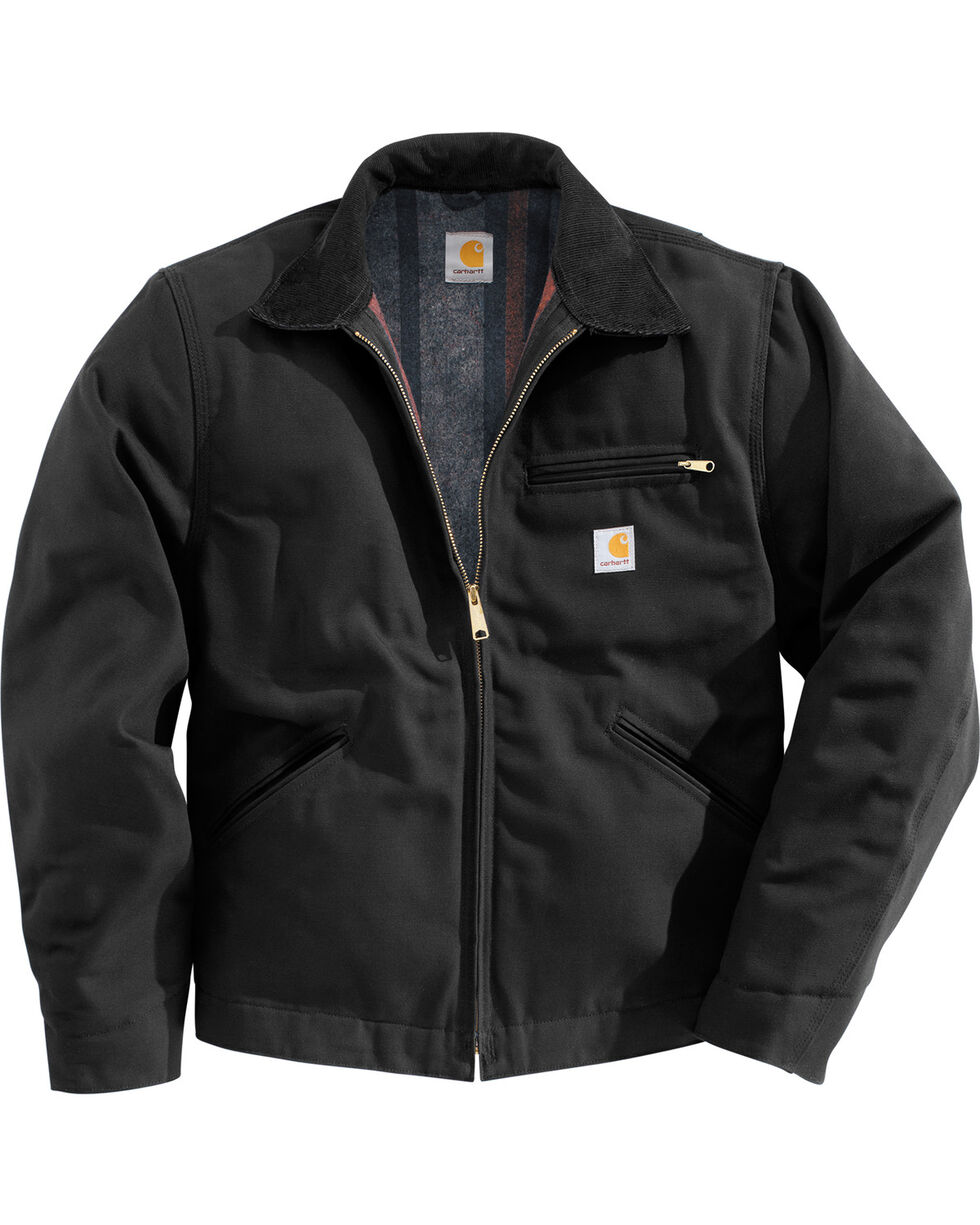 Carhartt Men's Duck Detroit Blanket Lined Canvas Jacket, Black, hi-res