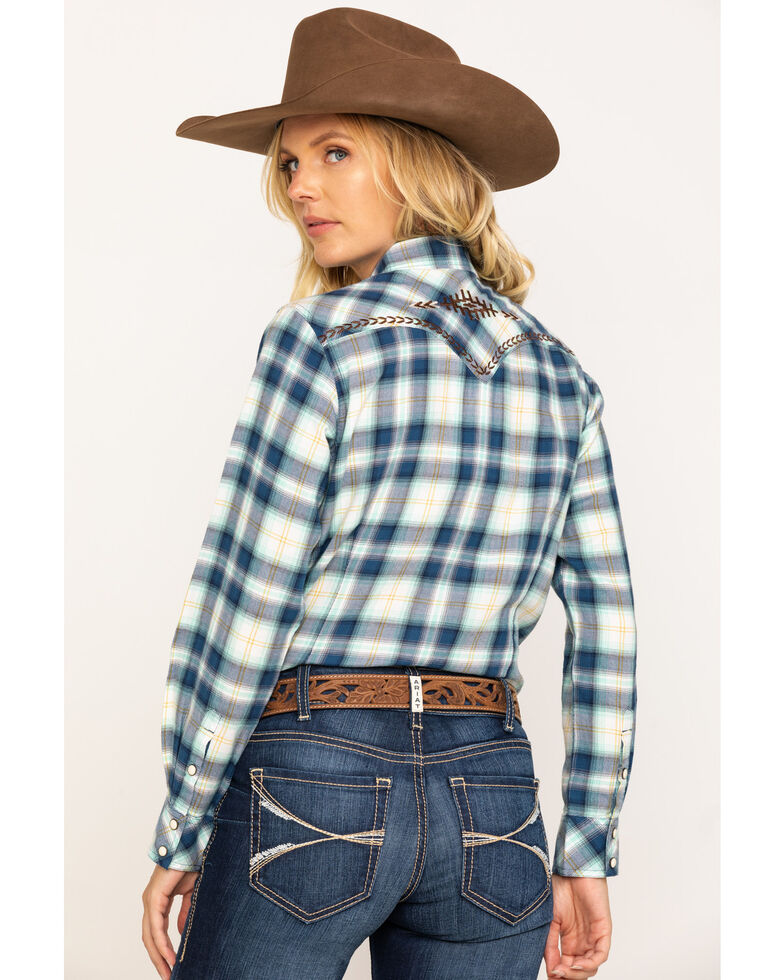 Ariat Women's Navy Plaid R.E.A.L. Snap Long Sleeve Western Shirt , , hi-res