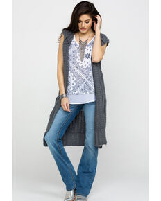 Ariat Women's Valley Sweater Vest, Grey, hi-res