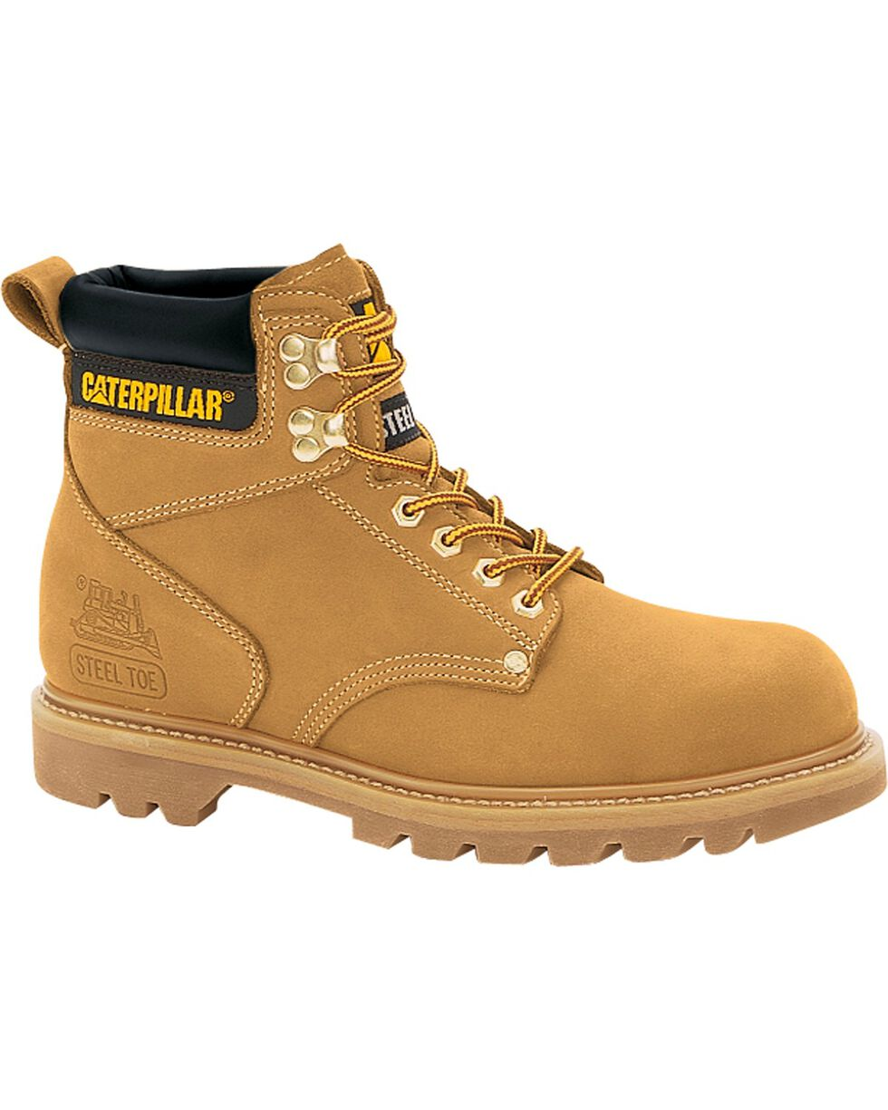 CAT Men's Second Shift Steel Toe Work Boots, Honey, hi-res