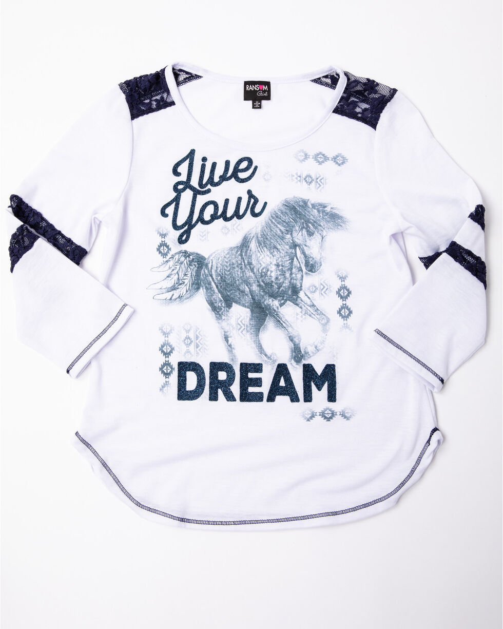 Ransom Girls' Live Your Dream Horse Aztec Print Athletic Tee , White, hi-res