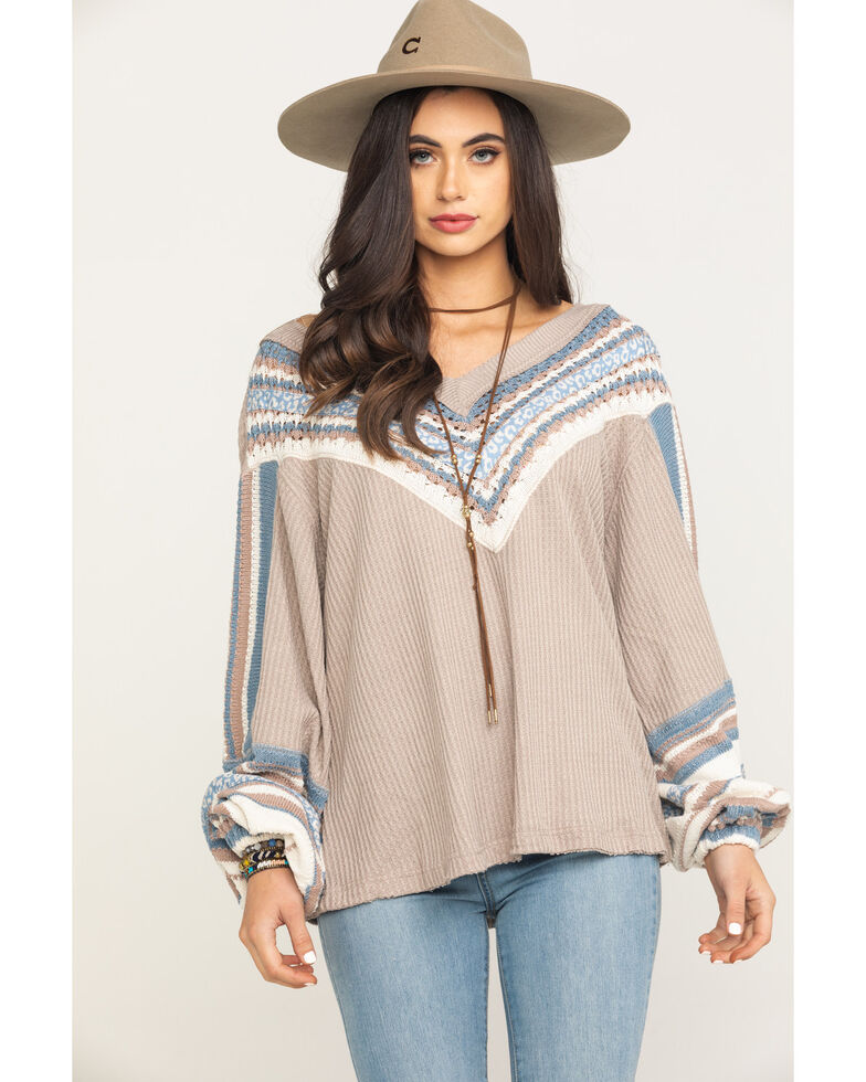 Free People Women's Copenhagen Thermal Top, Grey, hi-res