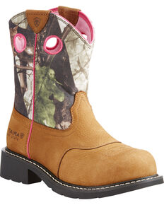 Ariat Women's Light Brown Fatbaby Camo Upper Boots - Steel Toe , Lt Brown, hi-res