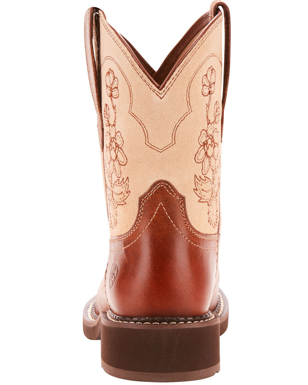 Ariat Fatbaby Women's Heritage Viola Copper Ostrich Print Cowgirl Boots - Round Toe, Rust Copper, hi-res
