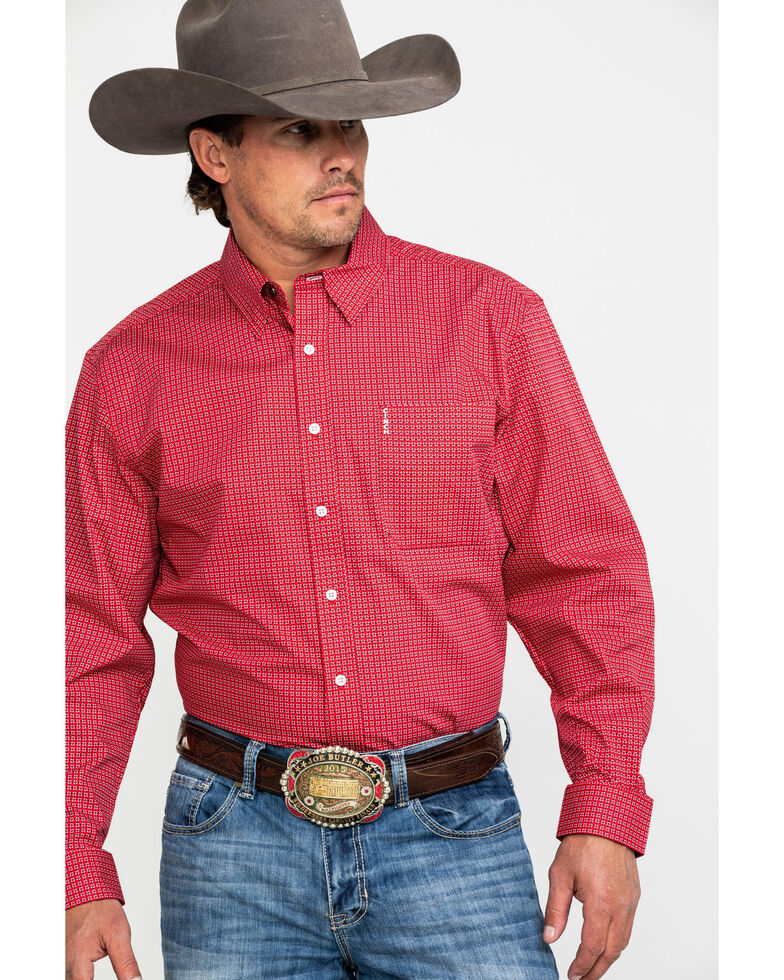 Cinch Men's Red Diamond Geo Print Modern Long Sleeve Western Shirt , Red, hi-res