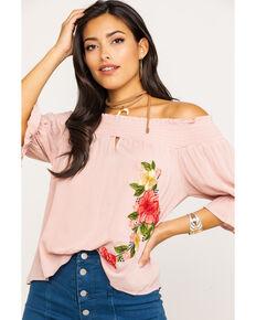 Ces Femme Women's Floral Embroidered Off The Shoulder Shirt, Blush, hi-res