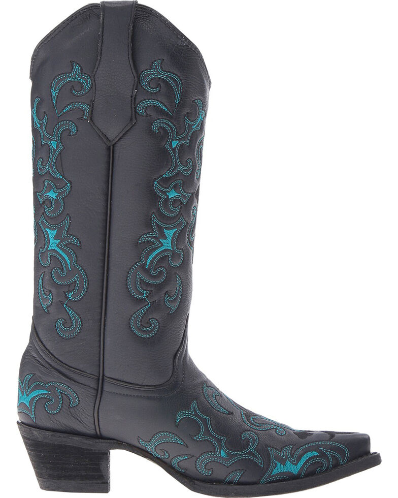 Cirlce G Women's Embroidered Western Boots, Black, hi-res