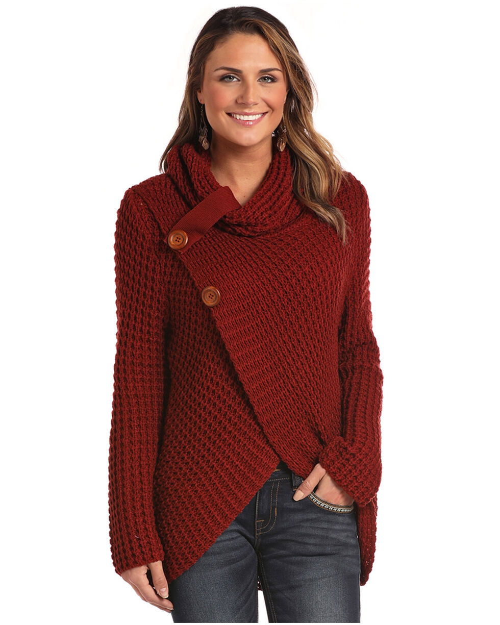 Panhandle Women's Rust Copper Waffle Knit Crossover Cowl Neck Sweater, Rust Copper, hi-res