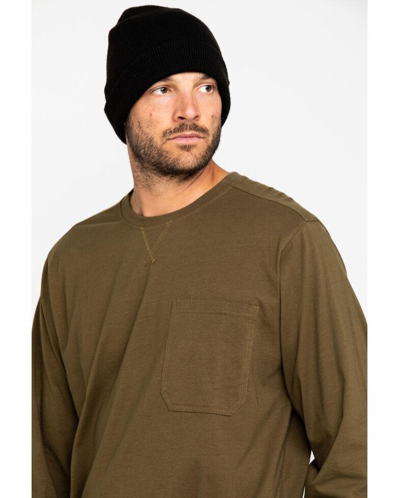 Hawx Men's Olive Pocket Long Sleeve Work T-Shirt - Big , Olive, hi-res