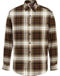 Wolverine Men's Rogan Plaid Flannel Work Shirt , Brown, hi-res