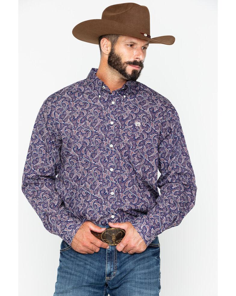 Cinch Men's Navy Paisley Long Sleeve Button Down Western Shirt, Navy, hi-res