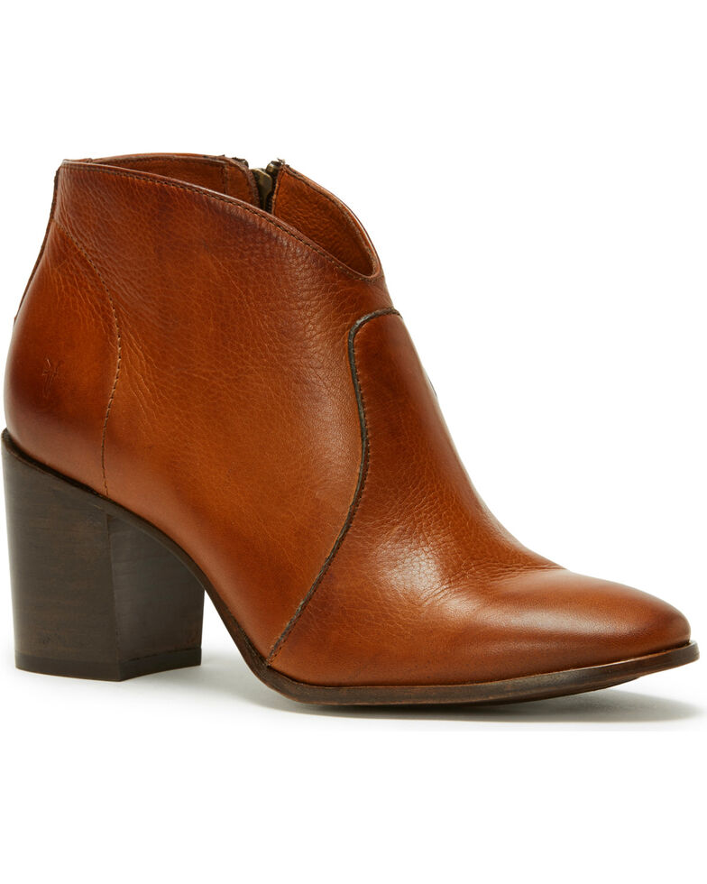 Frye Women's Nutmeg Nora Zip Booties - Round Toe , Lt Brown, hi-res