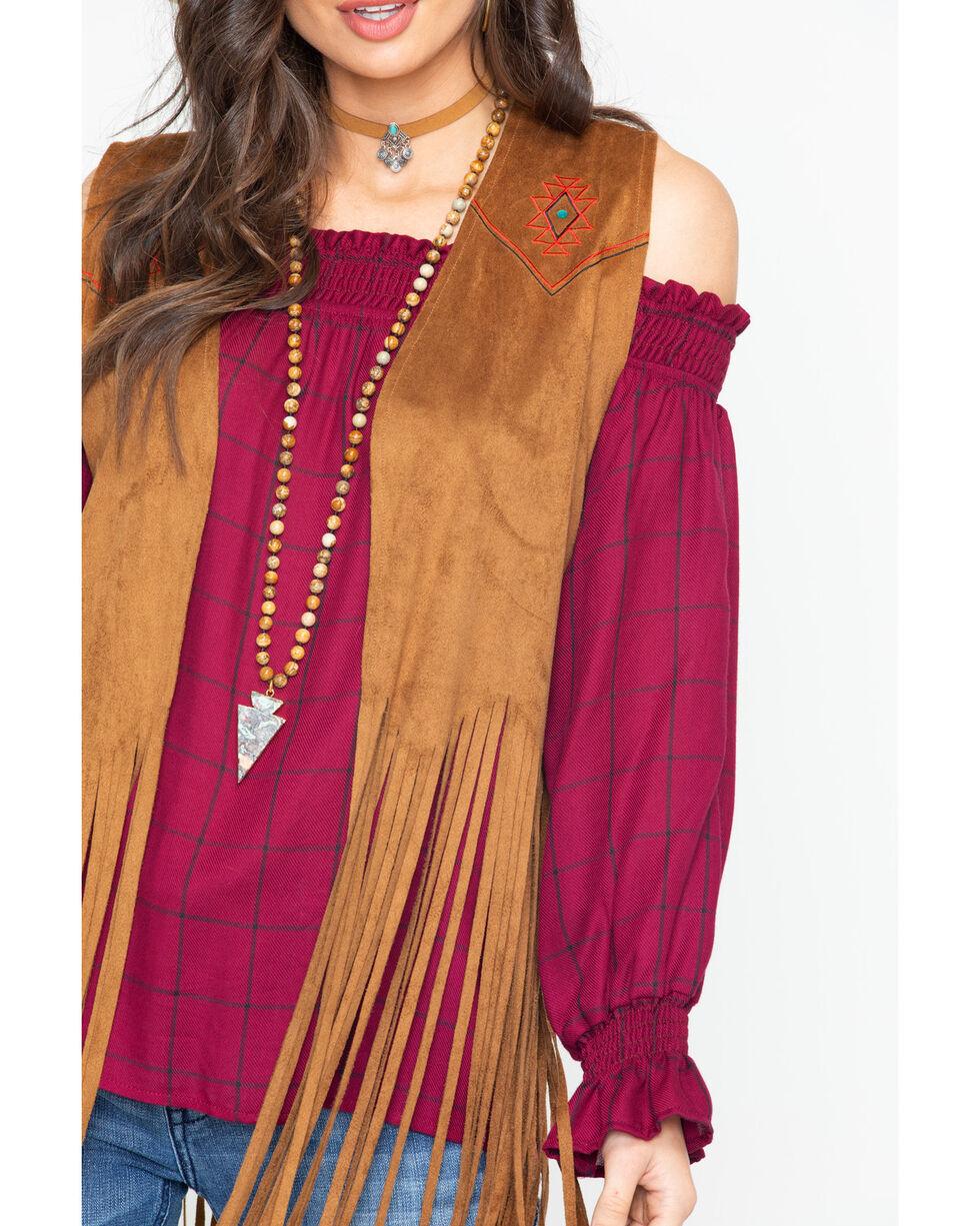 Wrangler Women's Turquoise Thunder Being Faux Fringe Vest , Brown, hi-res