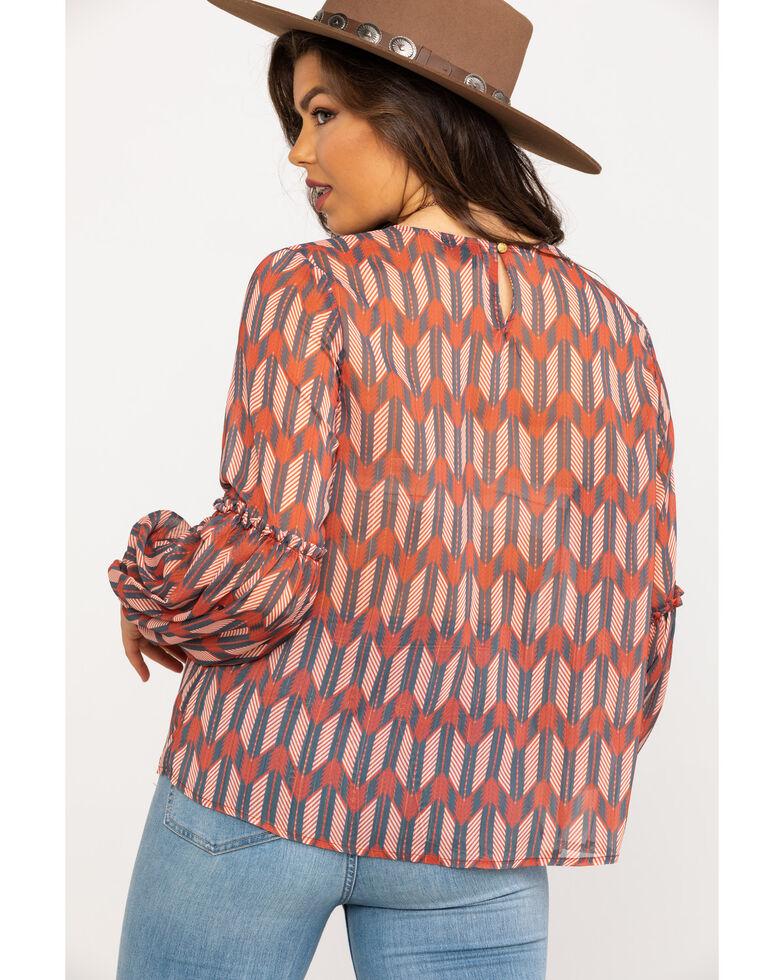 Wrangler Women's Rust Arrow Print Blouse, Rust Copper, hi-res