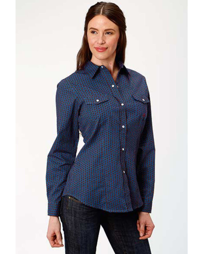 Amarillo Women's Cooper Creek Blue Geo Print Snap Long Sleeve Western Shirt, Blue, hi-res