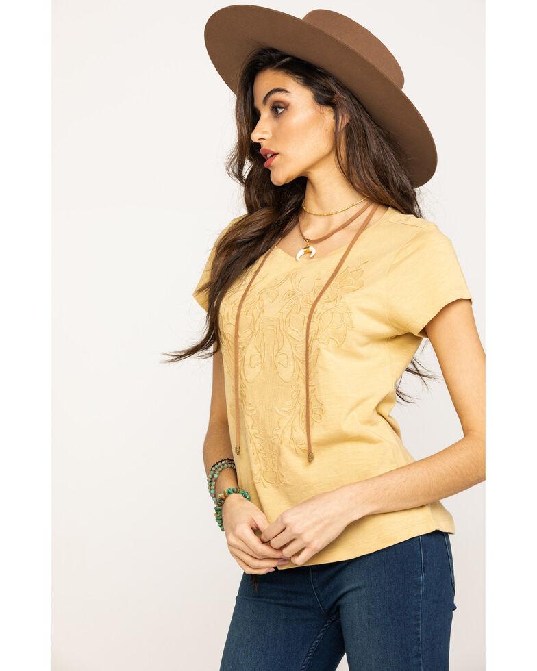 Shyanne Women's Mustard Applique Tee, Dark Yellow, hi-res