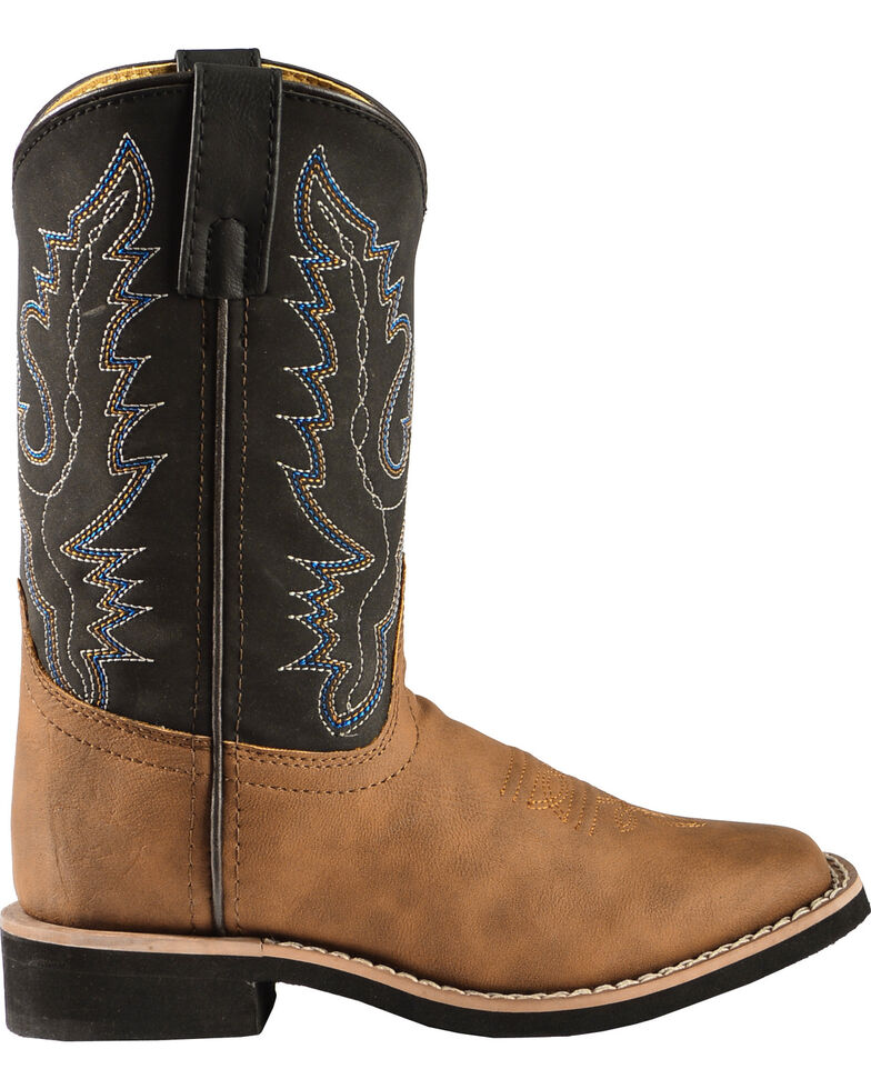 Swift Creek Youth Boys' Black and Tan Cowboy Boots - Square Toe, Brown, hi-res