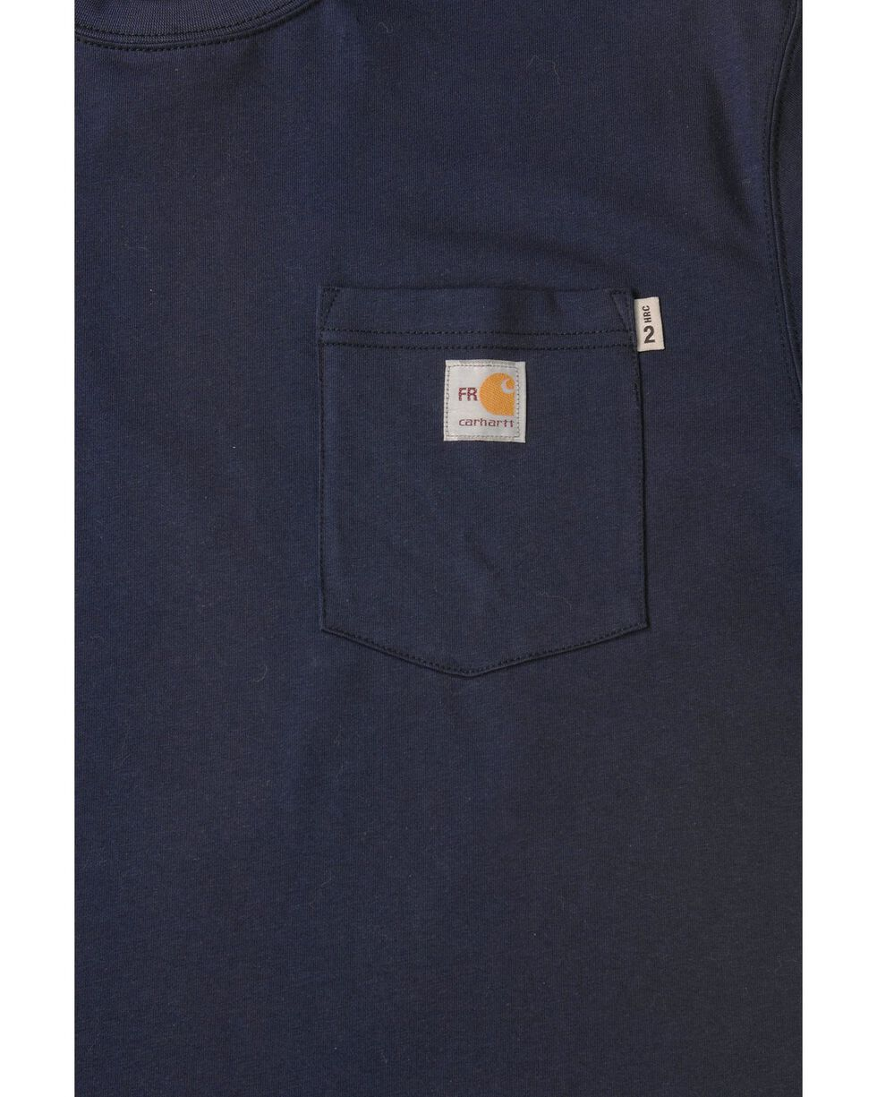 Carhartt Short Sleeve Navy Blue Pocket Fire Resistant Work T-Shirt, Navy, hi-res