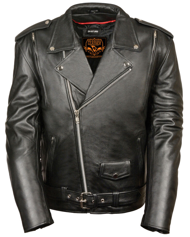 Milwaukee Leather Men's 4X Black Vented Side Lace Leather Motorcycle Jacket  , Black, hi-res