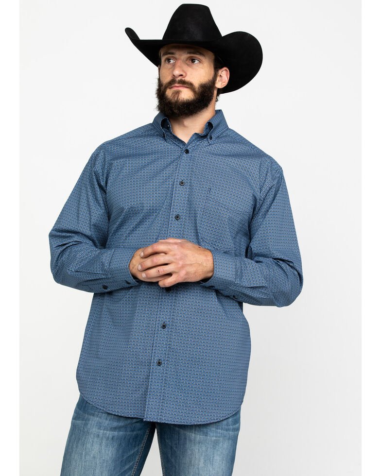 Tuf Cooper Men's Indigo Stretch Geo Print Long Sleeve Western Shirt , Indigo, hi-res