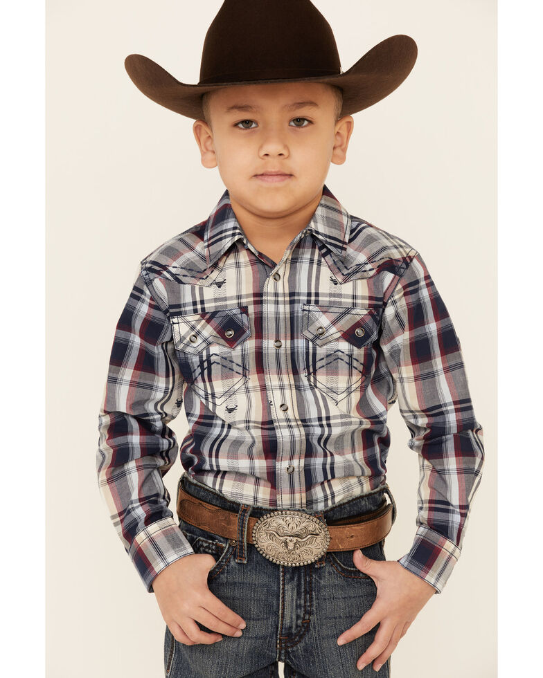 Cody James Toddler Boys' Bull Dobby Plaid Long Sleeve Snap Western Shirt , Navy, hi-res