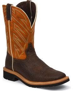 Justin Men's Square Toe Work Boots, Chestnut, hi-res
