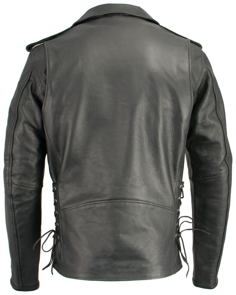 Milwaukee Leather Men's Classic Side Lace Concealed Carry Motorcycle Jacket - Tall, Black, hi-res