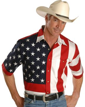 Scully Men's Rangewear USA Flag Western Shirt, Multi, hi-res