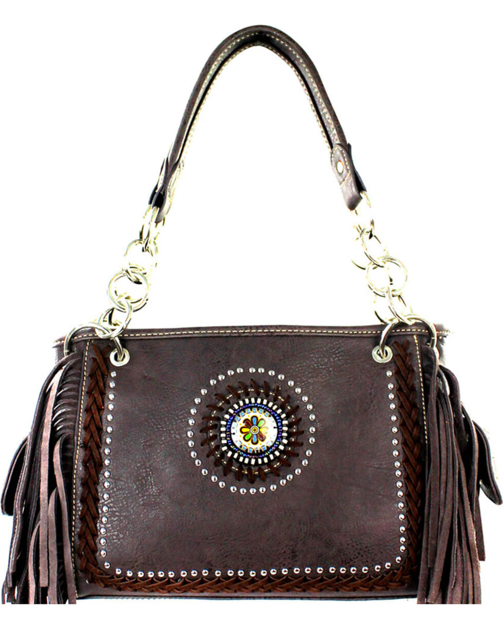 Montana West Coffee Fringe Collection Satchel, Brown, hi-res