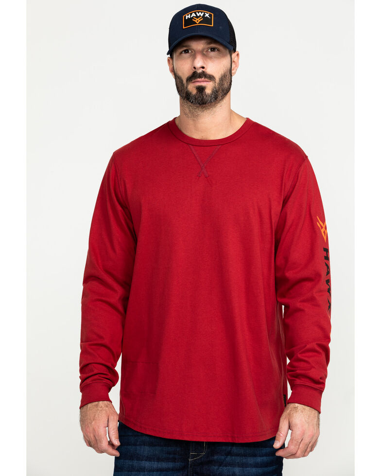 Hawx Men's Flame Resistant Logo Long Sleeve Work T-Shirt , Red, hi-res