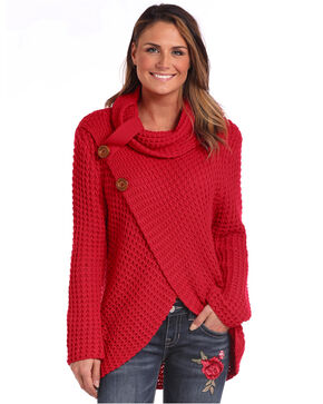 Panhandle Women's Red Waffle Knit Crossover Cowl Neck Sweater, Red, hi-res