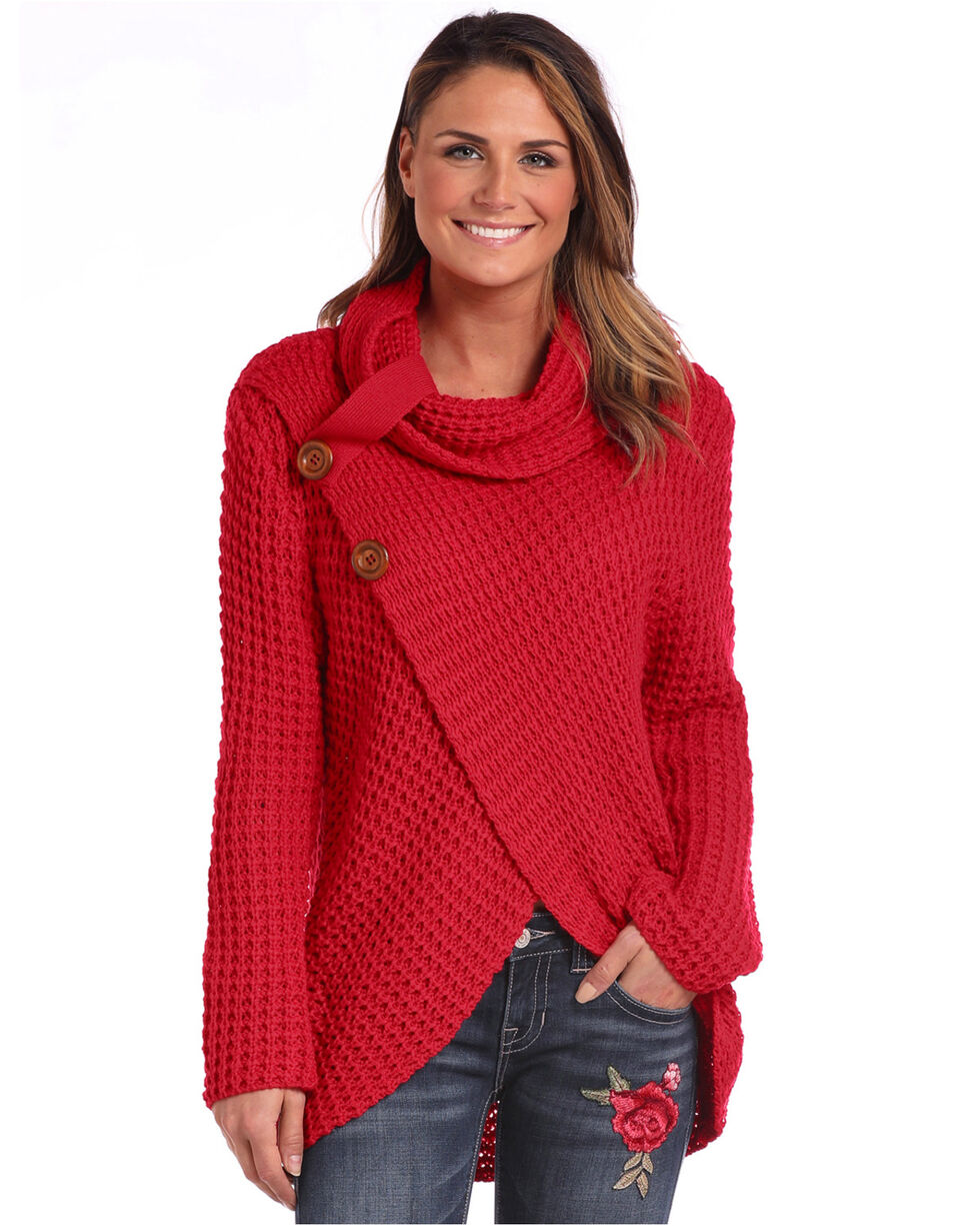 Panhandle Women's Red Waffle Knit Crossover Cowl Neck Sweater, , hi-res