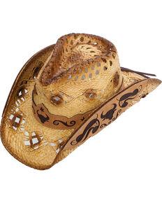 Western Express Men s Callahan Steer Design Straw Hat f8b811a81b3f