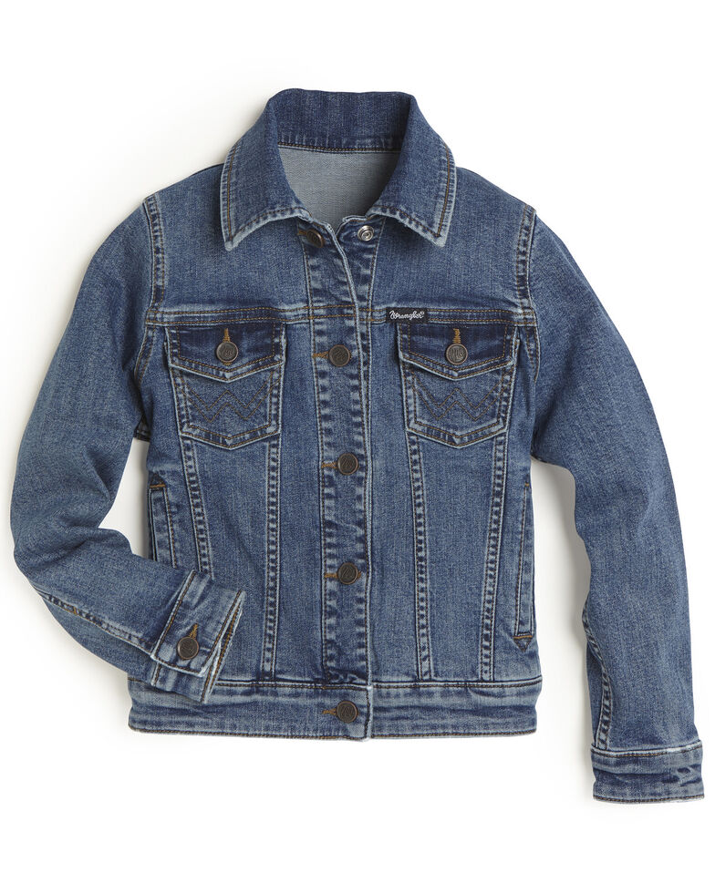 Wrangler Girls' Medium Wash Basic Denim Jacket, Blue, hi-res