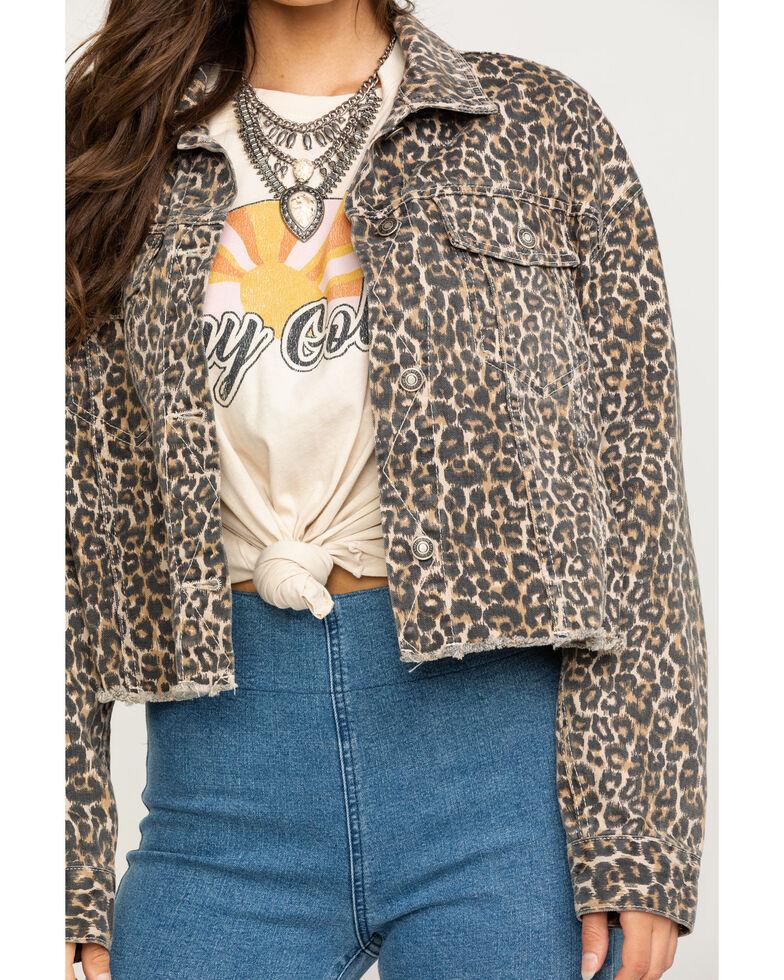 Free People Women's Brown Cheetah Print Cropped Denim Jacket, Brown, hi-res