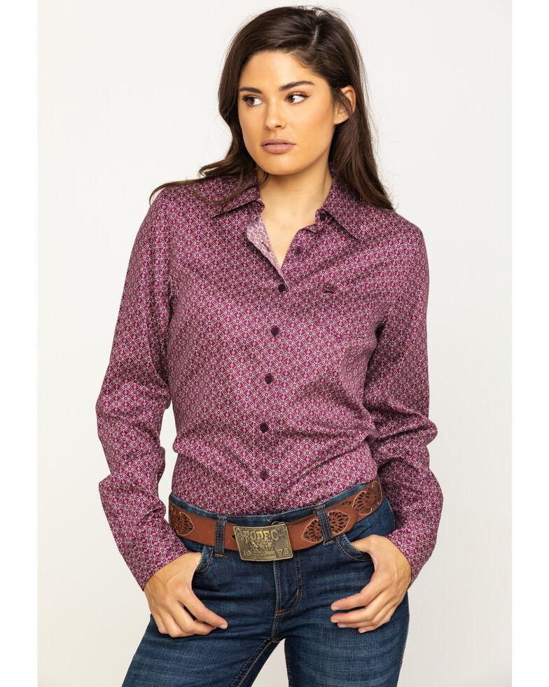 Cinch Women's Purple Geo Button Long Sleeve Western Shirt , Purple, hi-res
