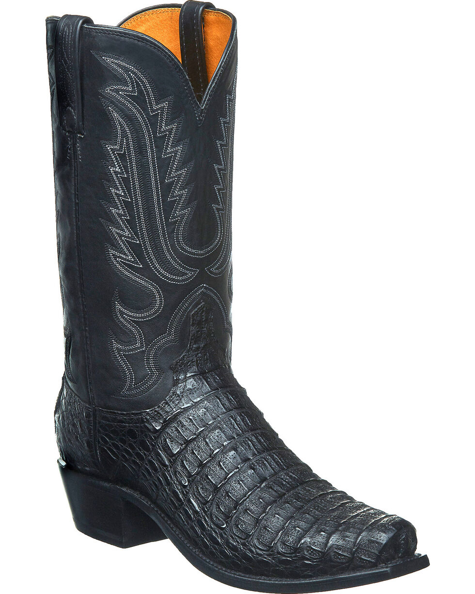 Lucchese Men's Handmade Walter Hornback Caiman Western Boots - Square Toe, Black, hi-res