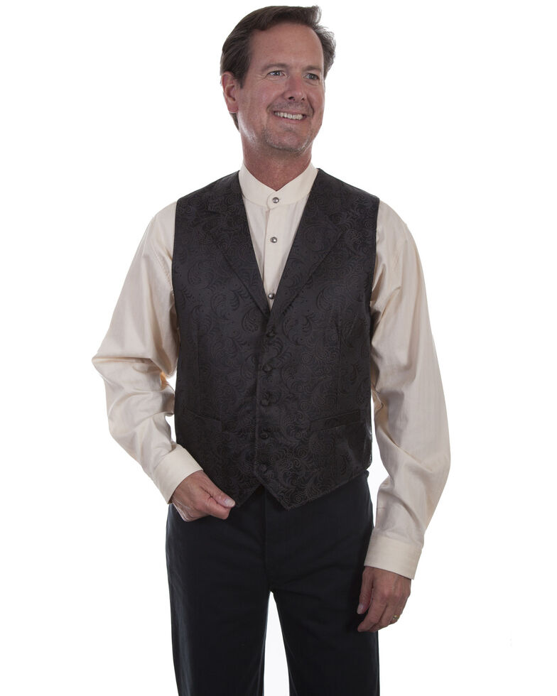 Scully Men's Paisley Cooper Chocolate Vest, Chocolate, hi-res