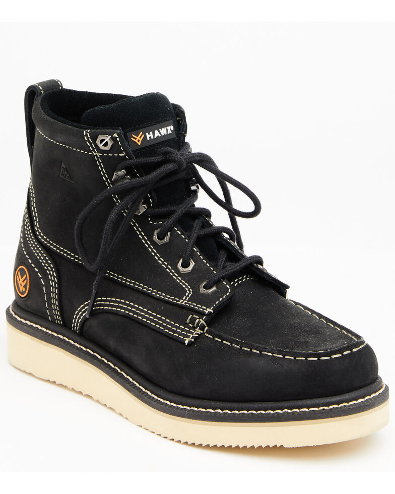 Hawx Men's Black Lace-Up Work Boots - Soft Toe, Black, hi-res