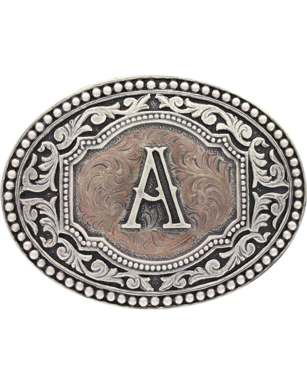 Montana Silversmiths Initial A Belt Buckle, Silver, hi-res