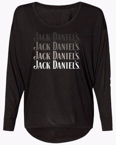 Jack Daniel's Women's Ombre Logo Long Sleeve Shirt, Black, hi-res